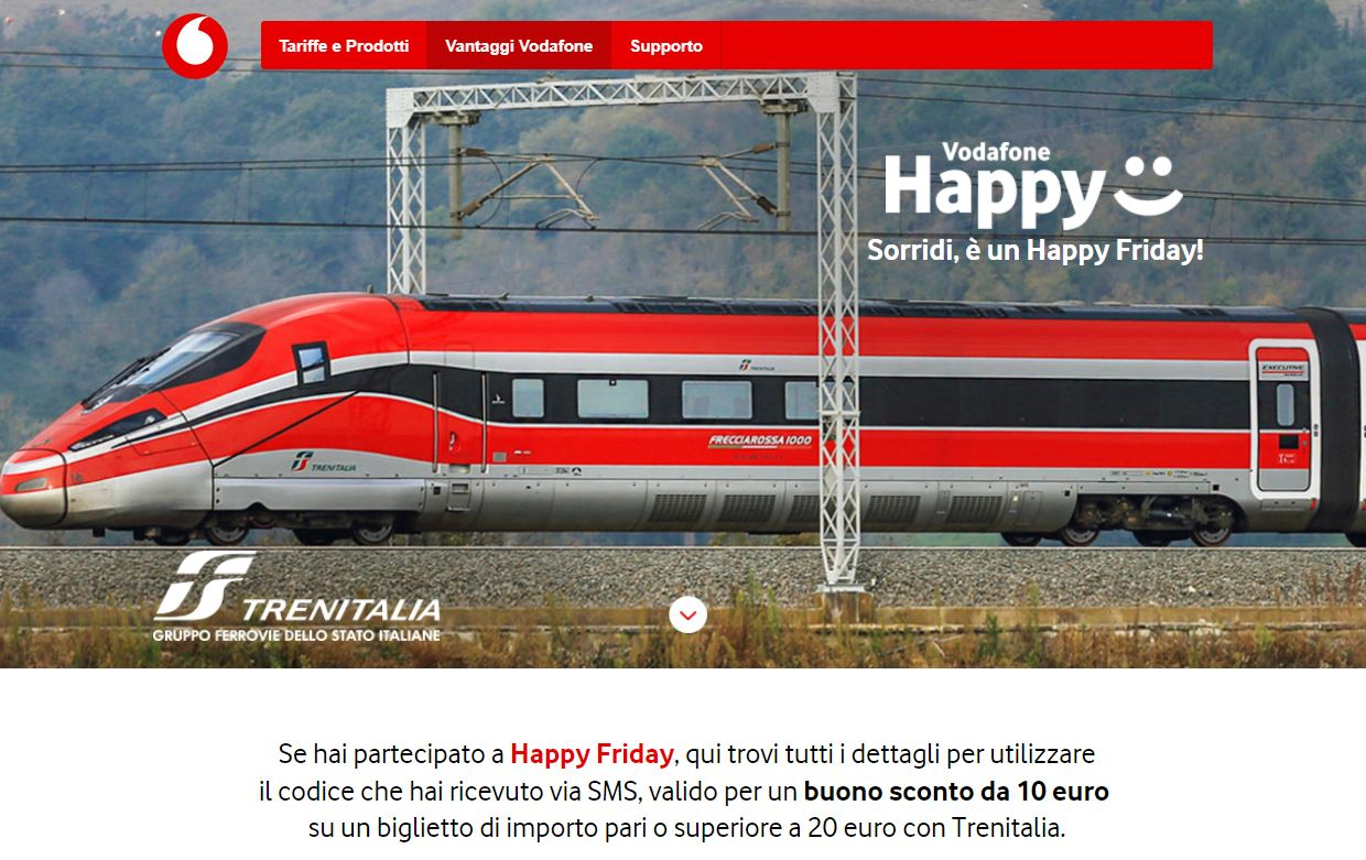 vodafone happy friday trenitalia banner