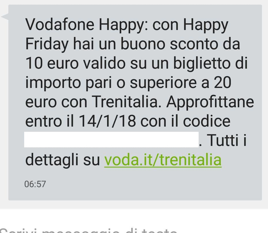 vodafone feliz viernes trenitalia sms