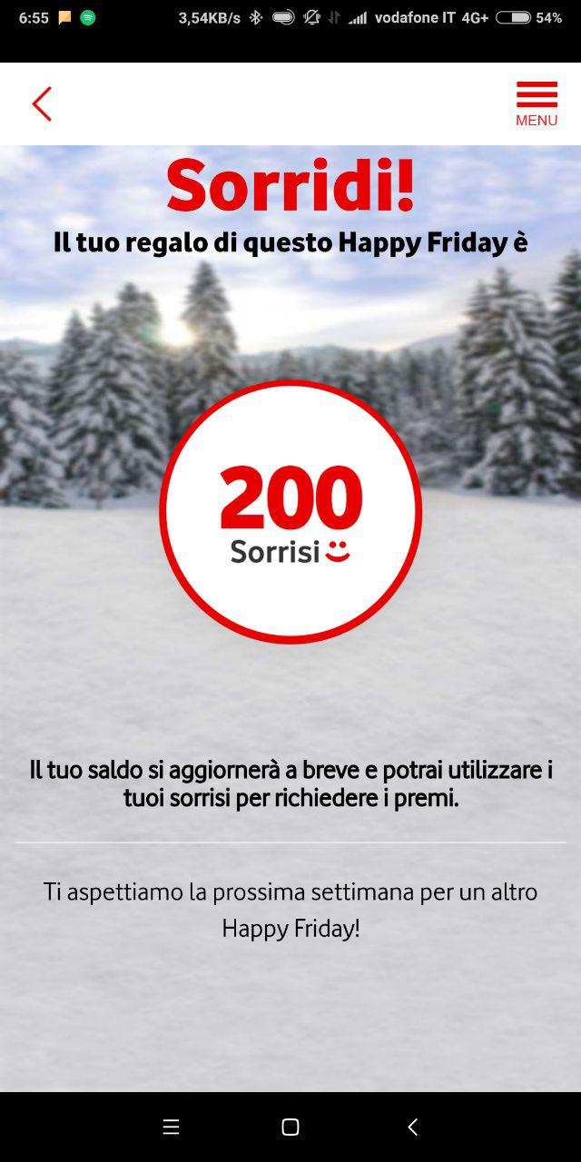 vodafone happy friday 200 sorrisi screen
