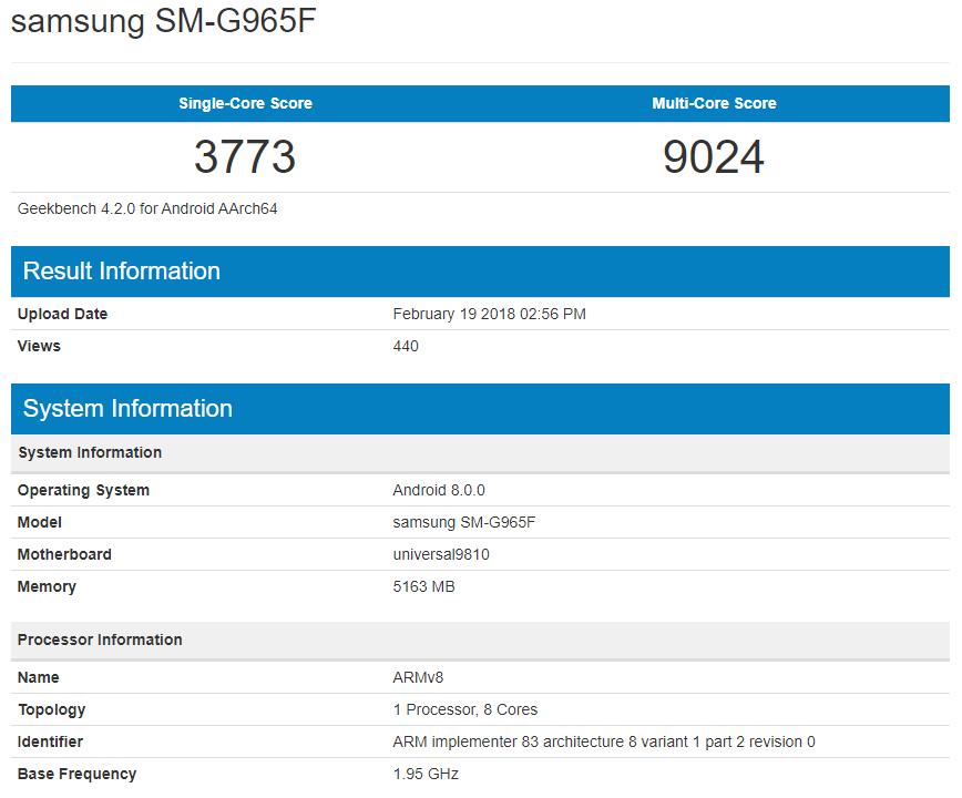 samsung galaxy s9 + geekbench exynos 9810