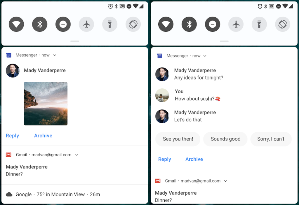 android 9 p smart replies
