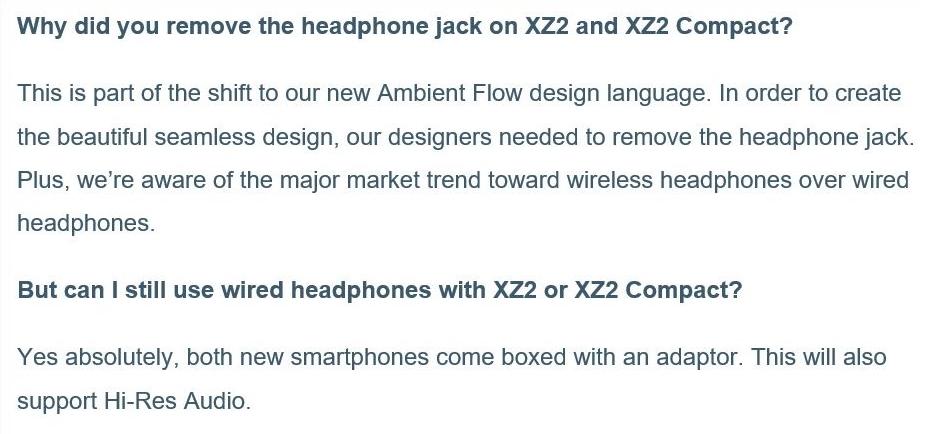 Sony Xperia XZ2 FAQ rimozione jack