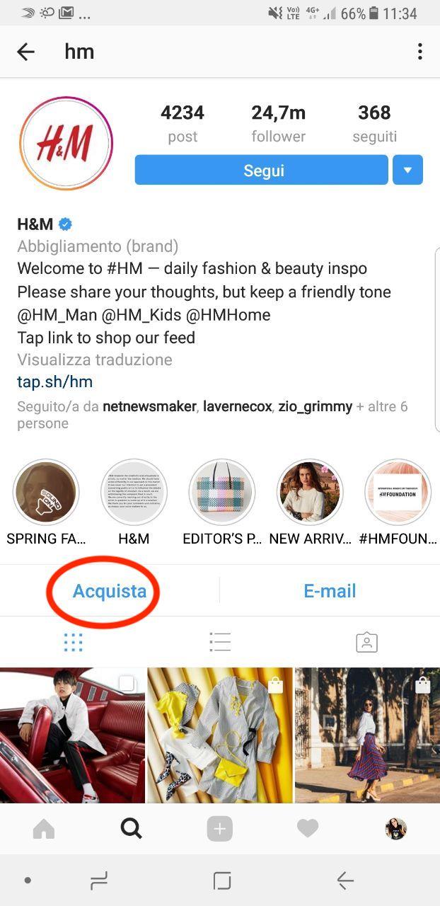 "instagram shopping ""acquista"""