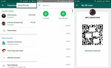 使用QR码进行Android支付的whatsapp beta