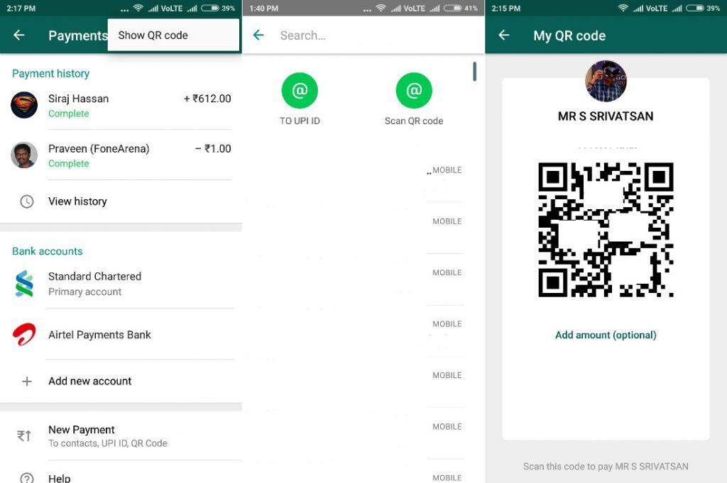 whatsapp beta per android pagamenti con QR Code