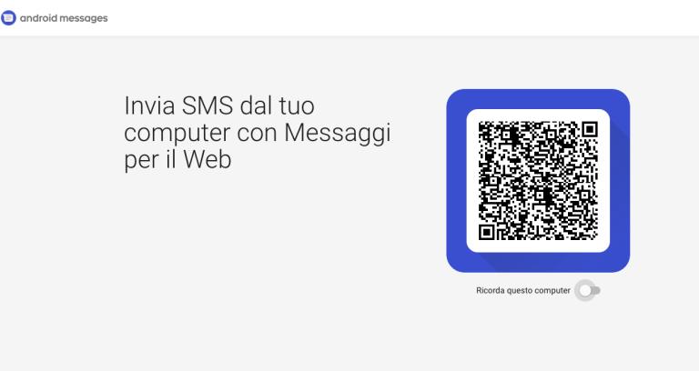 android messaggi versione web 1