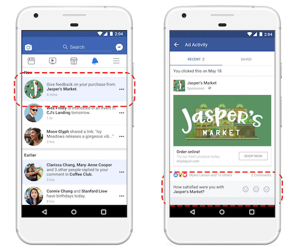 facebook feedback pubblicità
