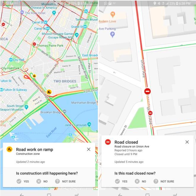 informes de incidencias de google maps