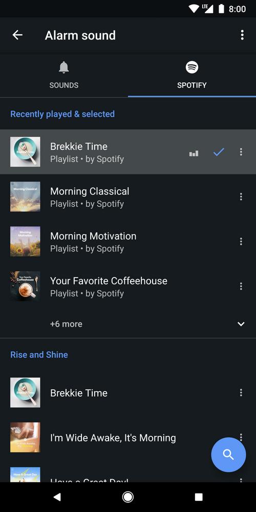 google orologio sveglia spotify