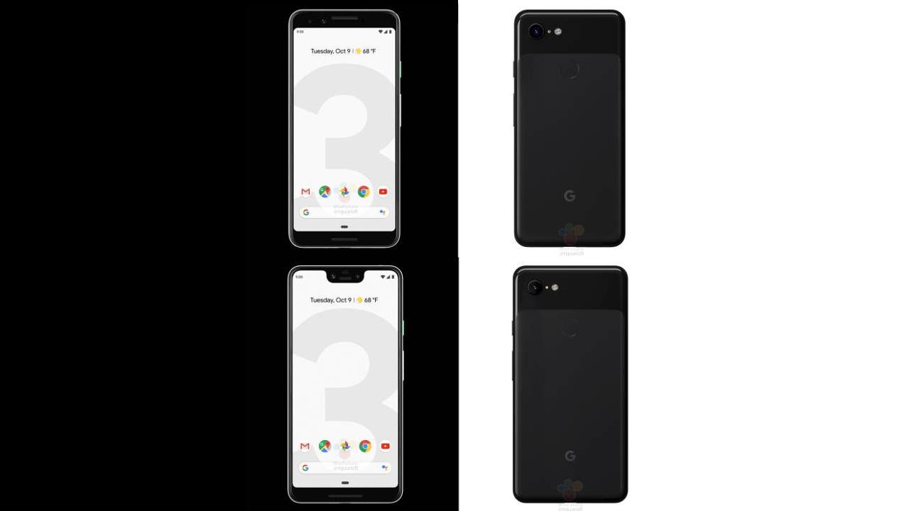 Google Pixel 3 / XL with no more secrets: render, technical