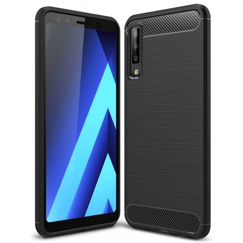 Naxtop Carbon Fiber Brushed Non-slip Soft Protection Back Cover Case for Samsung Galaxy A7 2018 / A750