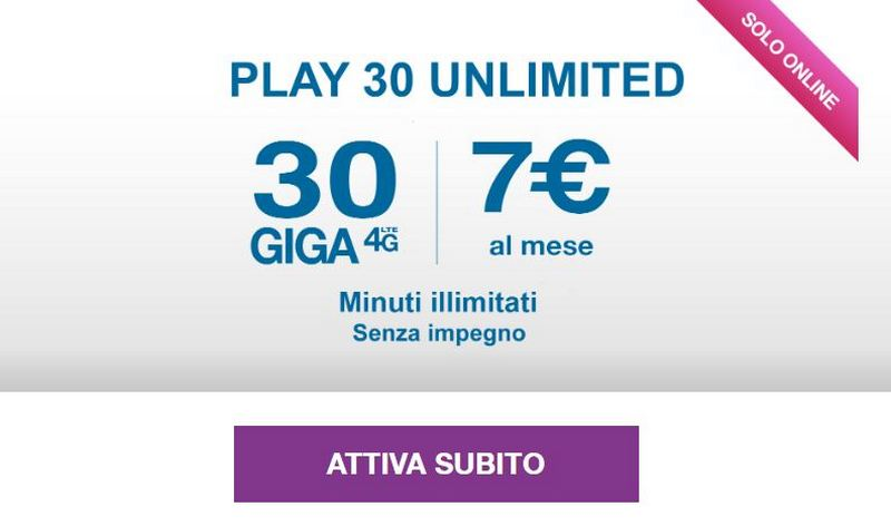 Three PLAY 30 Unlimited and Plus: unlimited minutes and 30 GB from