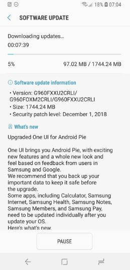 samsung galaxy s9 android 9 pie