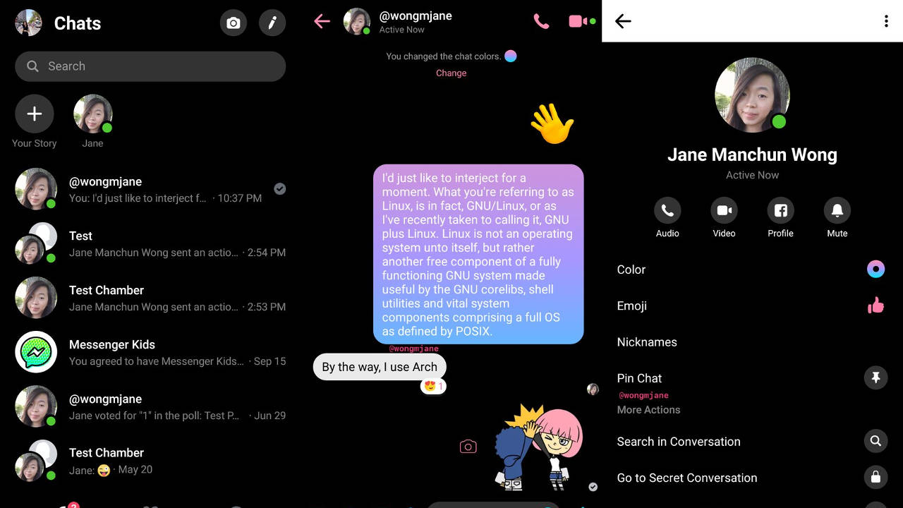 facebook messenger tema scuro