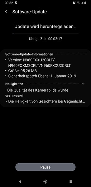 samsung galaxy note 9 android 9.0 pie