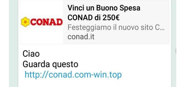 truffa whatsapp buono spesa conad