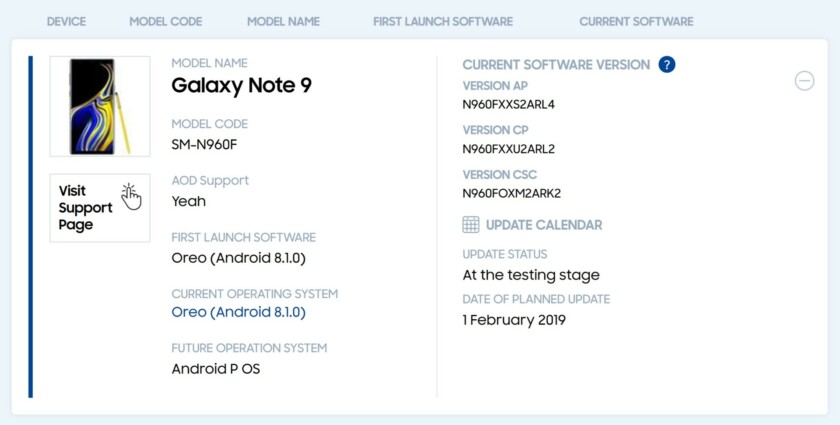 Samsung Galaxy Note 9: the roll-out of Android 9 Pie begins