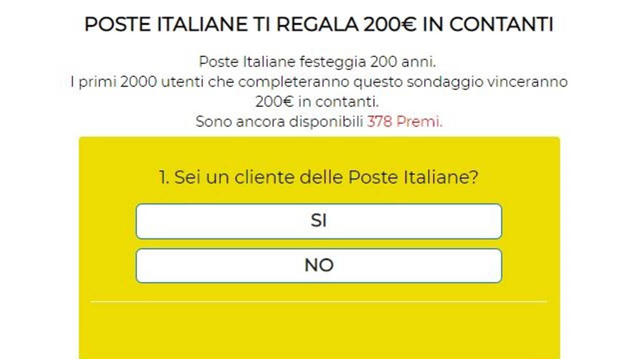 Poste Italiane ti regala 200€ in contanti