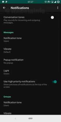 WhatsApp Beta tema scuro