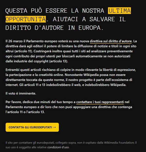 wikipedia legge copyright