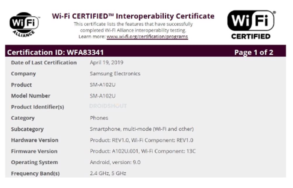 certificazione wi-fi samsung