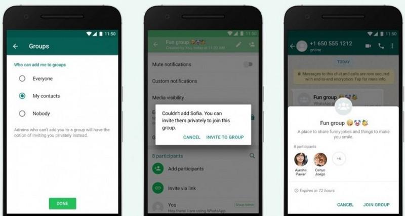 La obligación de whatsapp de invitar a grupos.