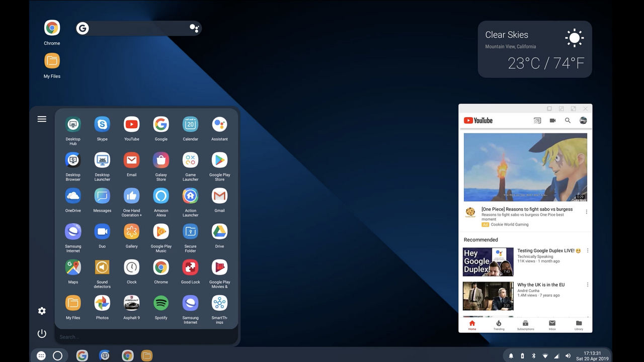 modo de desktop android q