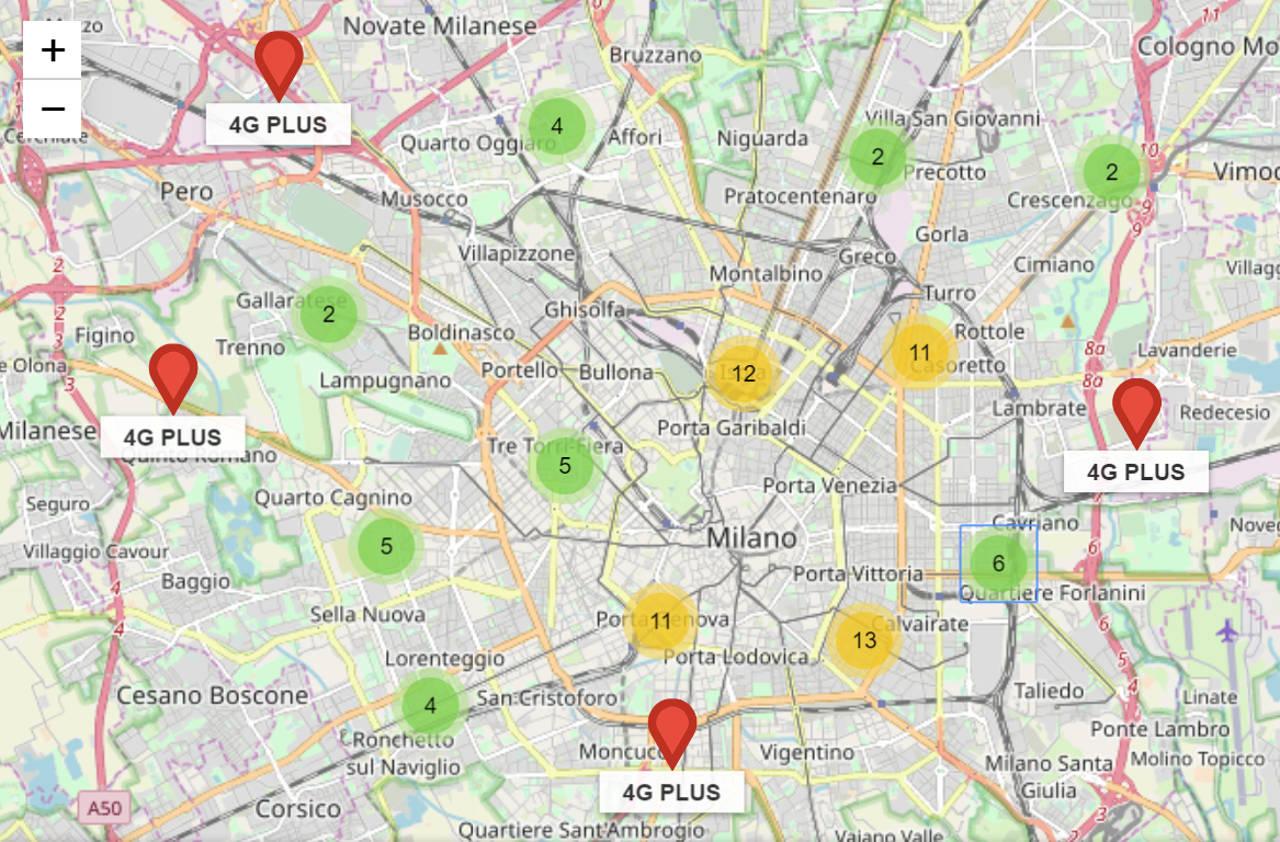 cobertura proprietária da rede de mapas iliad