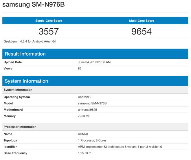 Samsung Galaxy Note 10 5G geekbench
