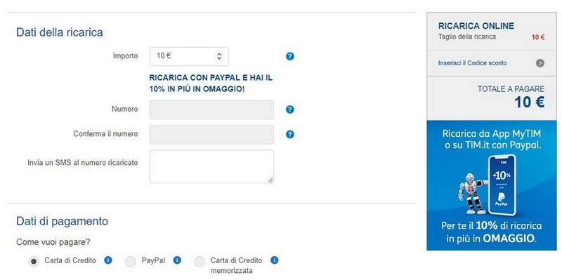TIM Ricarica Online paypal
