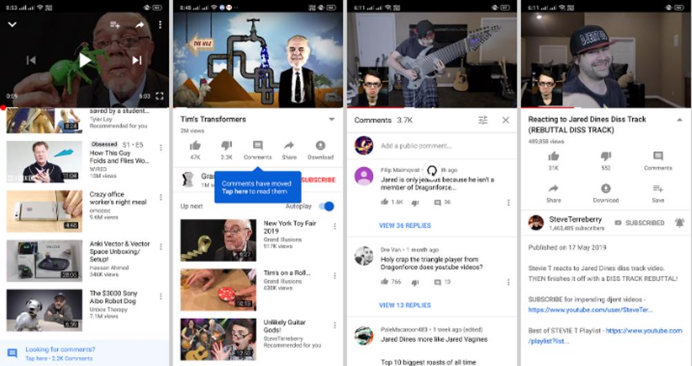 YouTube android commenti