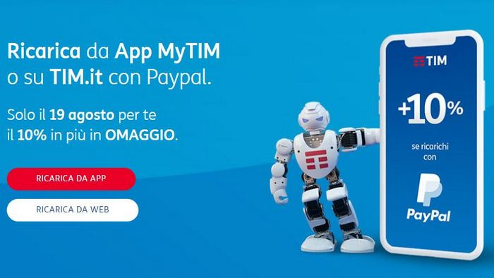 TIM Ricarica Online 19 Agosto paypal