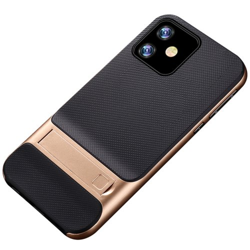 Naxtop 2 in 1 Soft TPU Hard PC Plaid Bracket Mobile Phone Case for iPhone 11 Pro Max / 11 Pro / 11