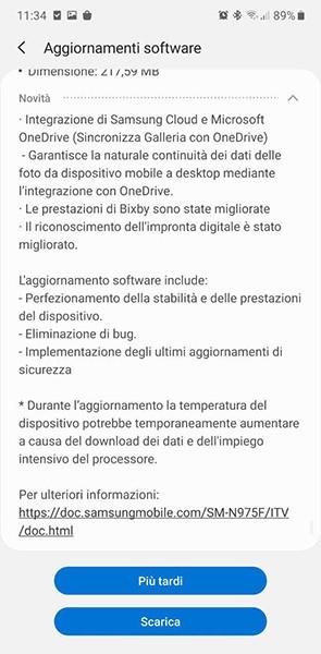 Samsung Galaxy Note 10 + update