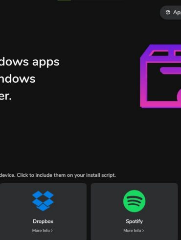 Winstall app applications d'interface web windows 10